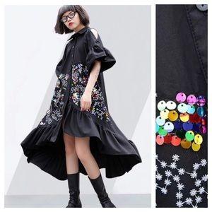Dresses & Skirts - 🆕 Black Sequin Ruffle Cold Shoulder Dress C90